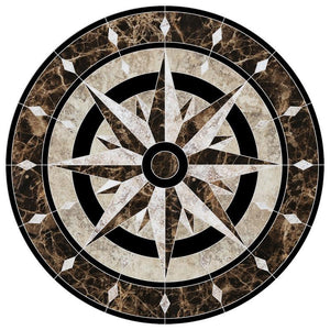 CM-CM1-36 Compass Medallion Custom Mosaics