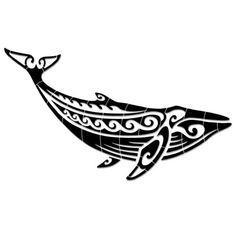 CM-THW1-36BK Tribal Humpback Whale - Black Custom Mosaics
