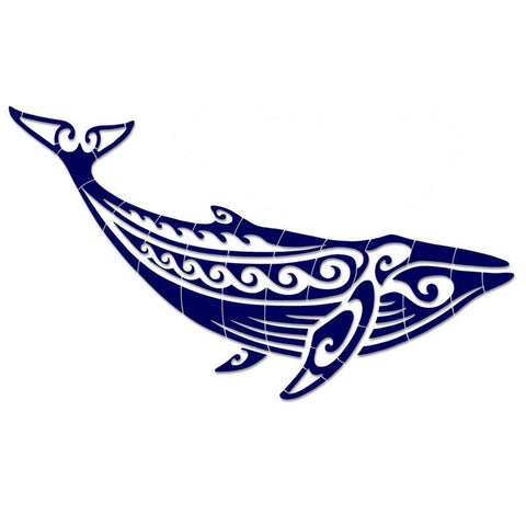 CM-THW1-36BL Tribal Humpback Whale - Blue Custom Mosaics