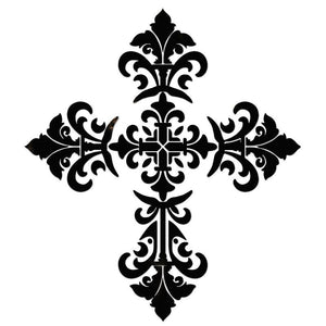CS-BCR1-36BK Baroque Cross - Black Custom Mosaics