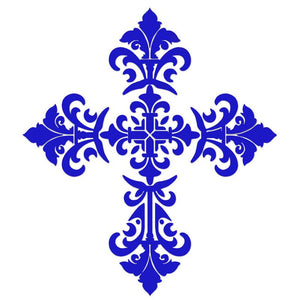 CS-BCR1-36BL Baroque Cross - Blue Custom Mosaics