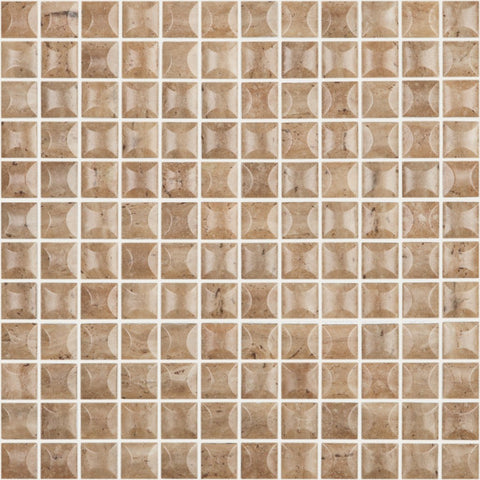 "EDNA TRAVERTINO NOCE MT Edna Travertino Noce MT 4100B, 1"" x 1"" - Glass Tile"