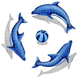DSHGRPS-BL Dolphin Group, Blue Ball with Shadow Artistry in Mosaics