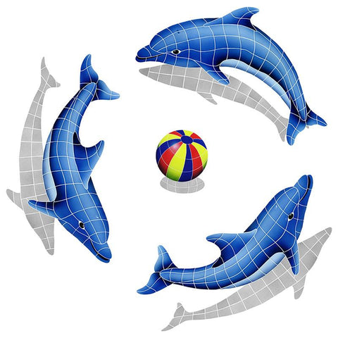 DSHGRPS-MC Dolphin Group, Multi Color Ball with Shadow Artistry in Mosaics