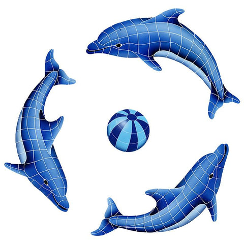 DOLGRPS-BL Dolphin Group, Blue Ball Artistry in Mosaics