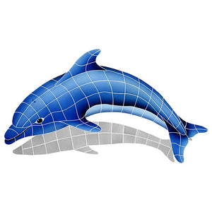 DSHBLULS Dolphin Left w/Shadow Artistry in Mosaics