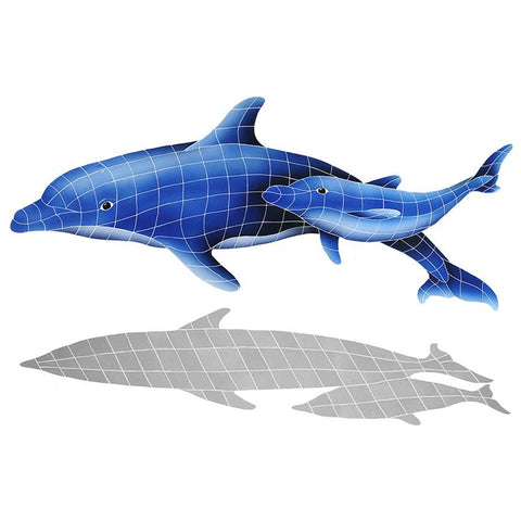 DPSBLUL Dolphin Pair w/Shadow Artistry in Mosaics