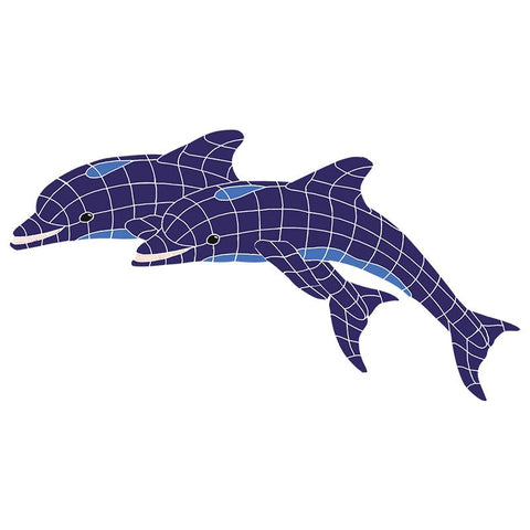 DTWBLUOL Dolphins, Twin Artistry in Mosaics