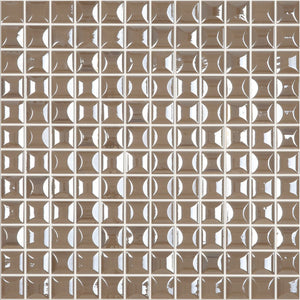 "EDNA COFFEE Coffee Iridescent Pillow Texture, 1"" x 1"" - Glass Tile"