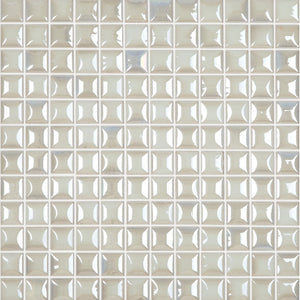 "EDNA WHITE White Iridescent Pillow Texture, 1"" x 1"" - Glass Tile"