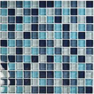 "Aqua Blend, 1"" x 1"" - Glass Tile"