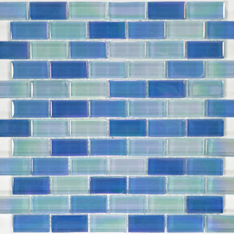 "Sky Blue Blend, 1"" x 2"" - Glass Tile"