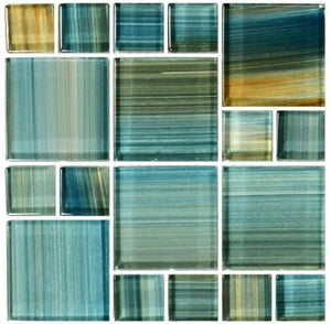 Aqua, Mixed - Glass Tile