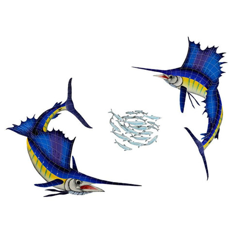 SAIGRPS Sailfish Group (1 left, 1 right, 1 FREE bait ball) Artistry in Mosaics