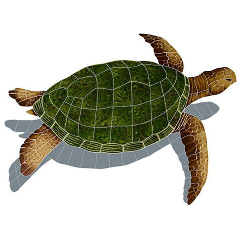 SESNATRS Sea Turtle - Natural w/Shadow Artistry in Mosaics
