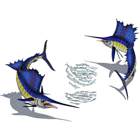 SSHGRPS Sailfish Group w/Shadow (1 left, 1 right, 1 FREE bait ball) Artistry in Mosaics