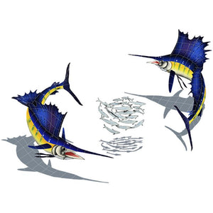 Sailfish Group w/Shadow (1 left, 1 right, 1 FREE bait ball) - Pool Mosaic