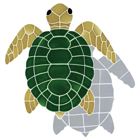 TSHNATTB Turtle, Classic Topview - Natural w/Shadow Artistry in Mosaics