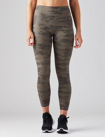 High Power Legging Print: Dark Moss Star Gloss Camo
