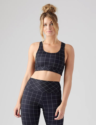 Full Force Bra: Black Windowpane Print