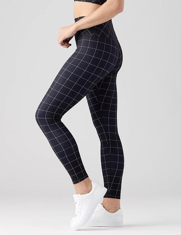 High Power Legging Print: Black Windowpane