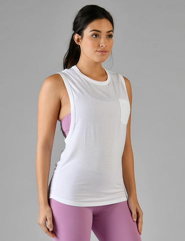 Slash Back Pocket Tank: White