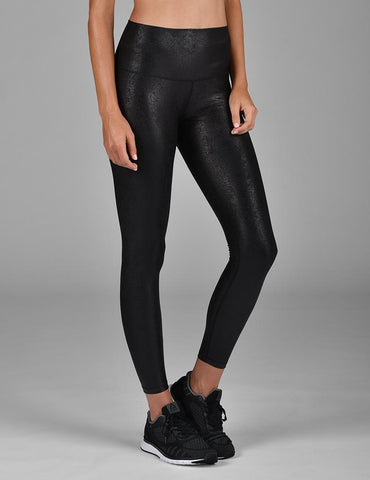High Power Legging Print: Black Foil Splatter
