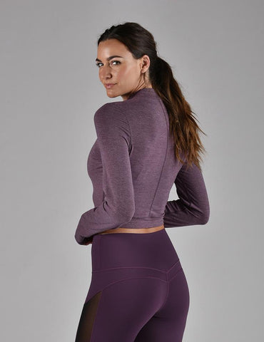 Mock Neck Crop Long Sleeve: Blackberry Wine Melange