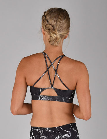 Fly High Bra: Cracked Onyx Print