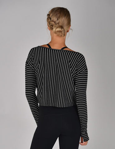 Aspect Long Sleeve Crop: Black and White Pinstripe