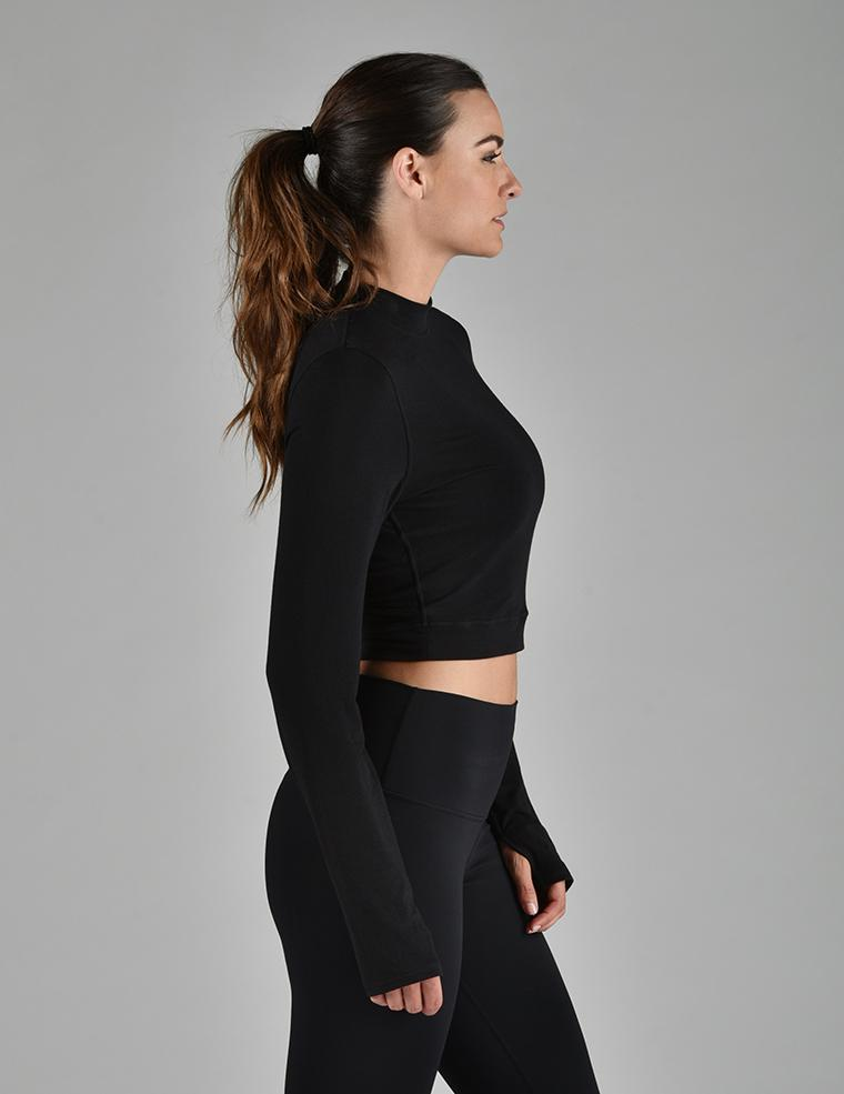 Mock Neck Crop Long Sleeve: Black