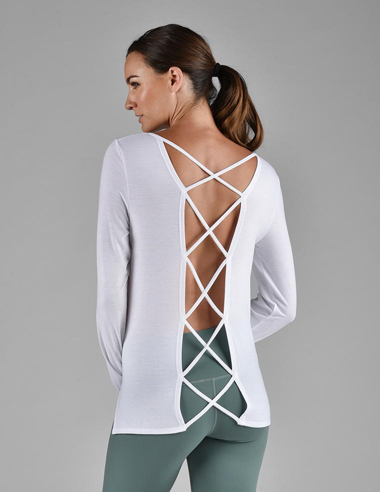 Cross Back Long Sleeve: White