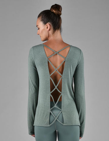 Cross Back Long Sleeve: Silver Pine Melange