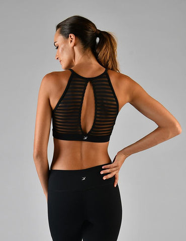 Unwind Bra: Black Shadow Stripe Mesh