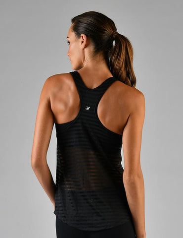 Vibrant Tank: Black Shadow Stripe Mesh