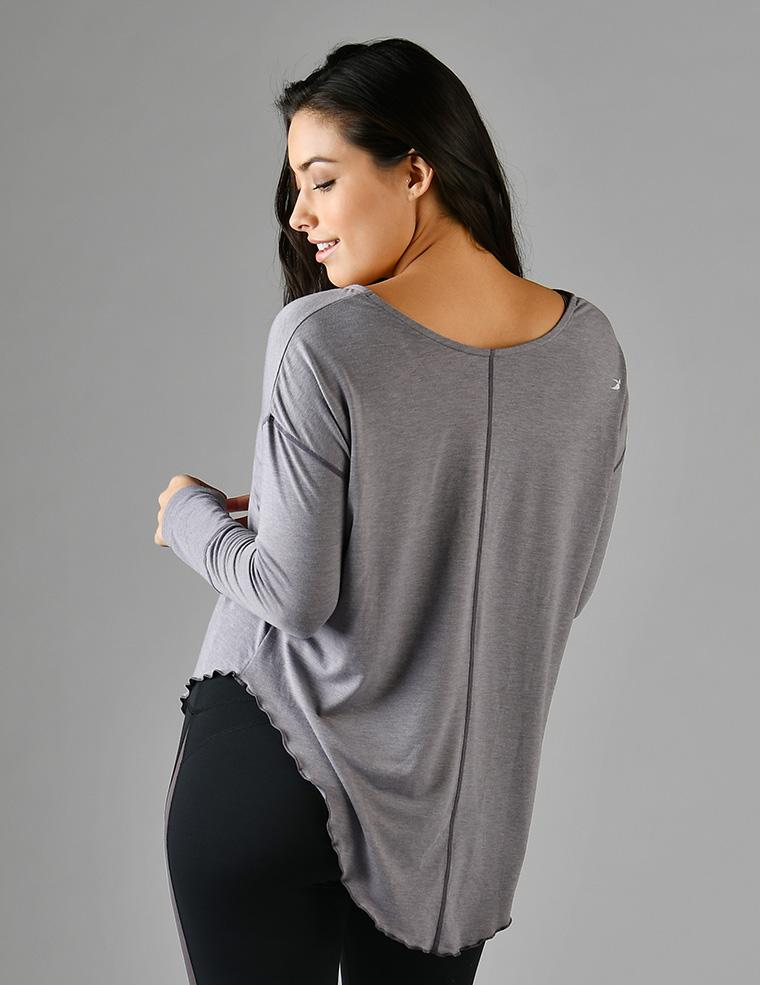 Lace Up Long Sleeve: Shark Melange