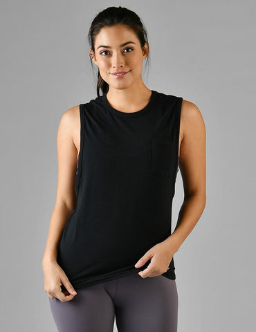 Slash Back Pocket Tank: Black