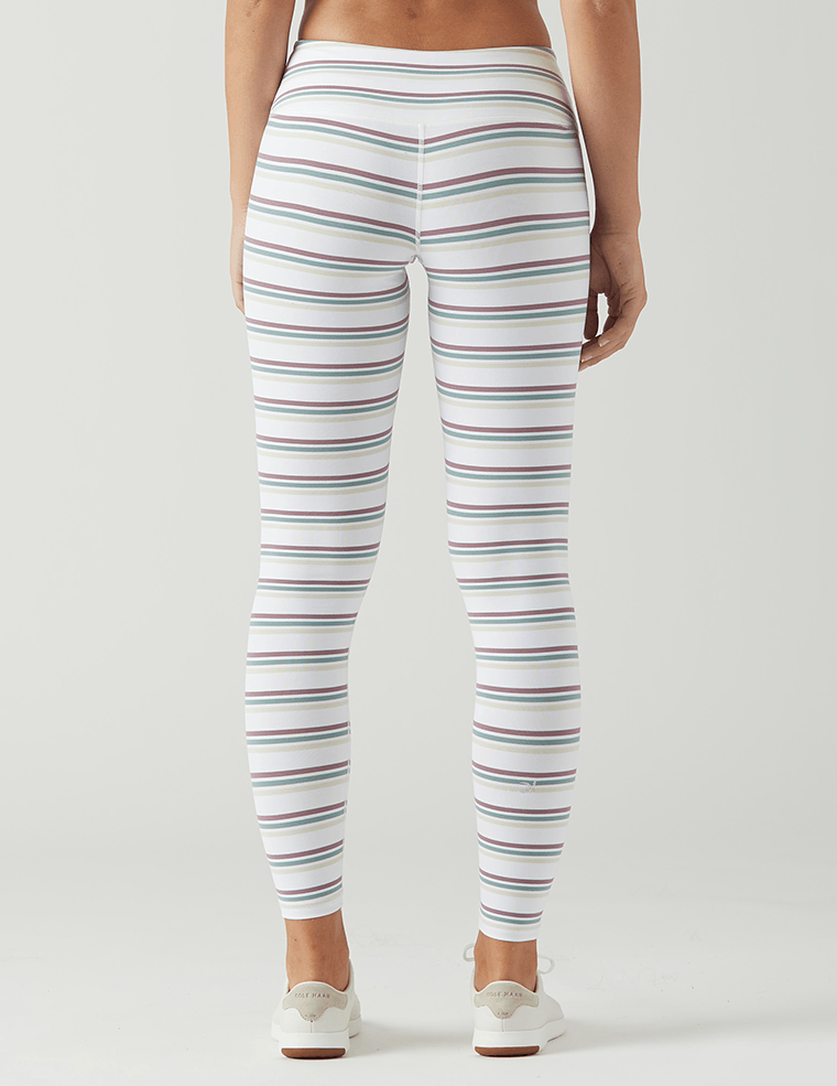 Elongate Legging: White Multi Stripe