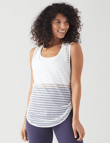 Free Spirit Tank: White Shadow Stripe Mesh