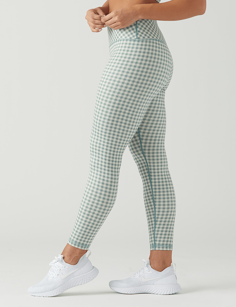 High Power Legging Print: Eucalyptus Gingham