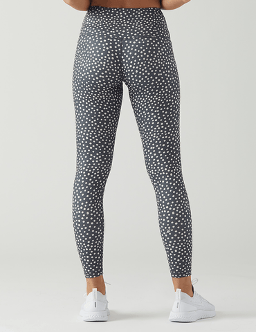 High Power Legging Print: Spotted Vintage Black