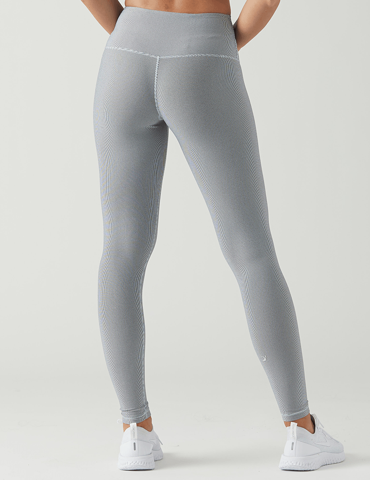 High Power Legging: White / Black Vintage Stripe