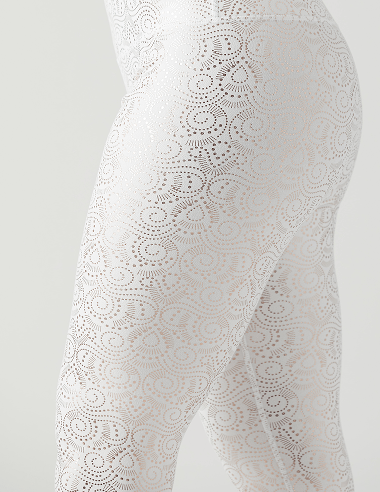 High Power Legging Print: White Royal Tide Gloss