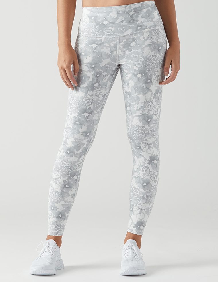 High Power Legging Print: White Spring Garden