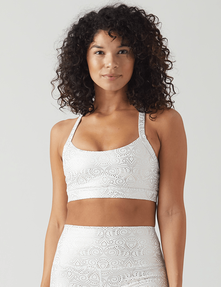 Lotus Bra: White Royal Tide Print