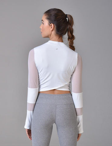 Black Moon Crop Top: White