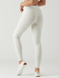Sultry Legging: Creme / White Stripe