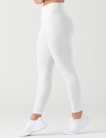 Sultry Legging: White / Copper Shimmer Stripe