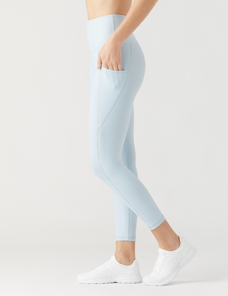GLYDER BEAM 7/8 LEGGINGS in MIST VINTAGE STRIPE