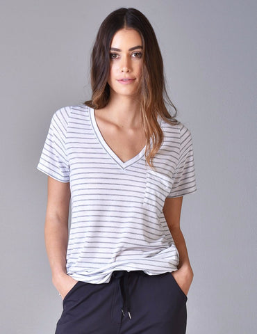 Boyfriend Tee: White/Grey Stripe
